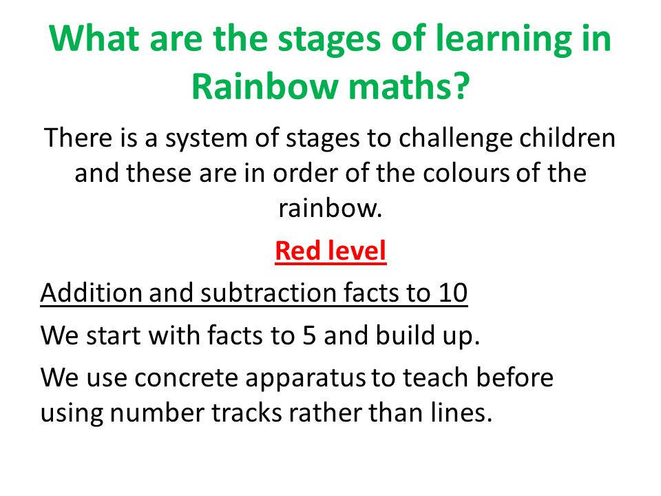 What are the stages of learning in Rainbow maths