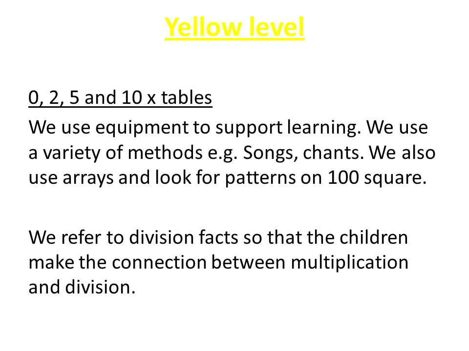 Yellow level 0, 2, 5 and 10 x tables