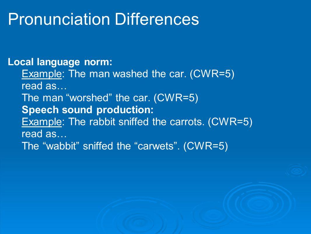 Pronunciation Differences