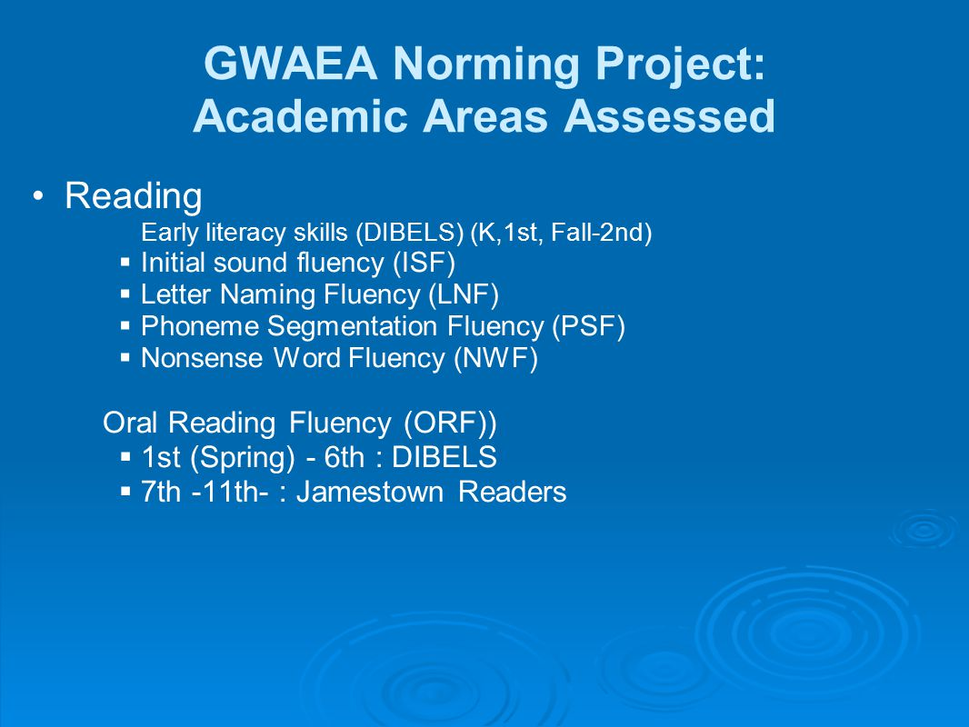 GWAEA Norming Project: Academic Areas Assessed