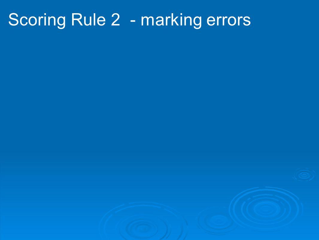 Scoring Rule 2 - marking errors