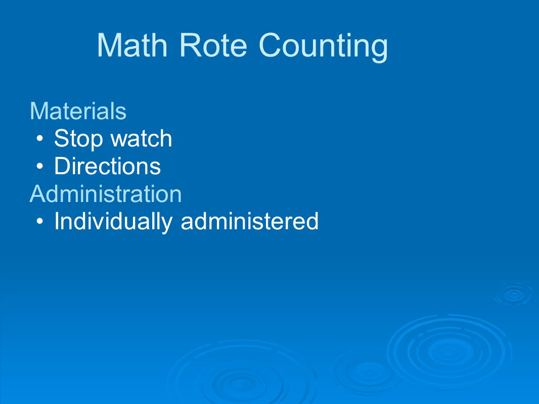 Math Rote Counting Materials Stop watch Directions Administration