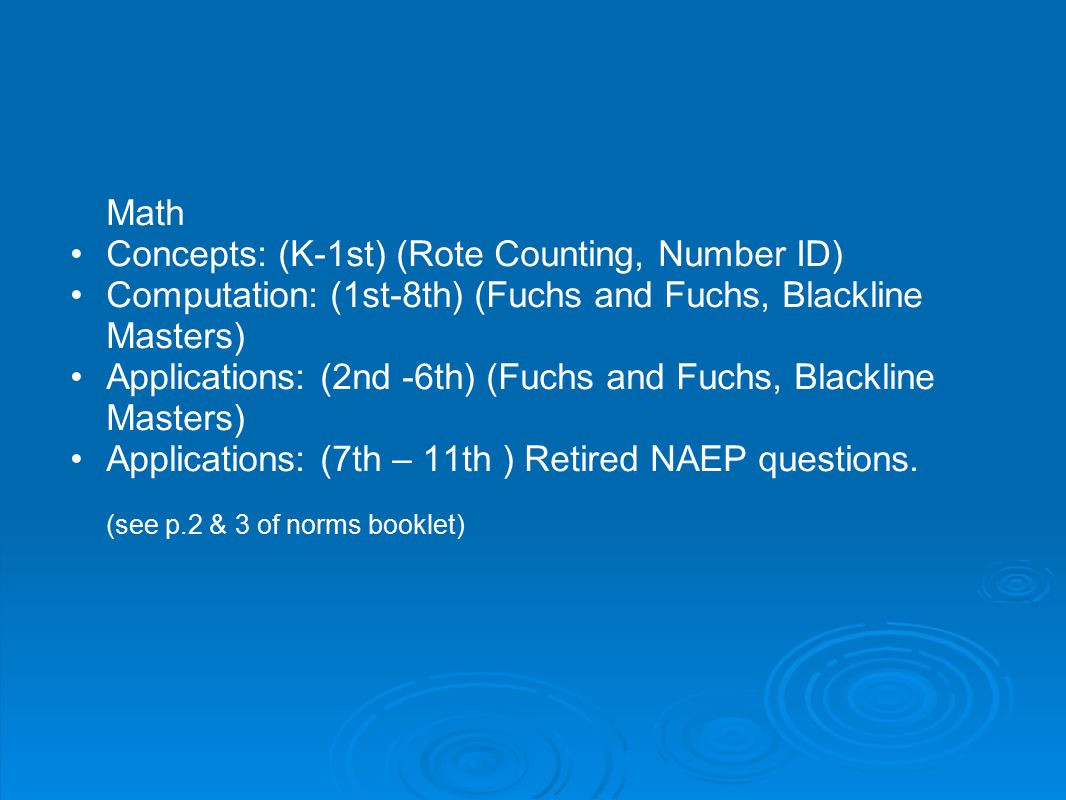 Concepts: (K-1st) (Rote Counting, Number ID)
