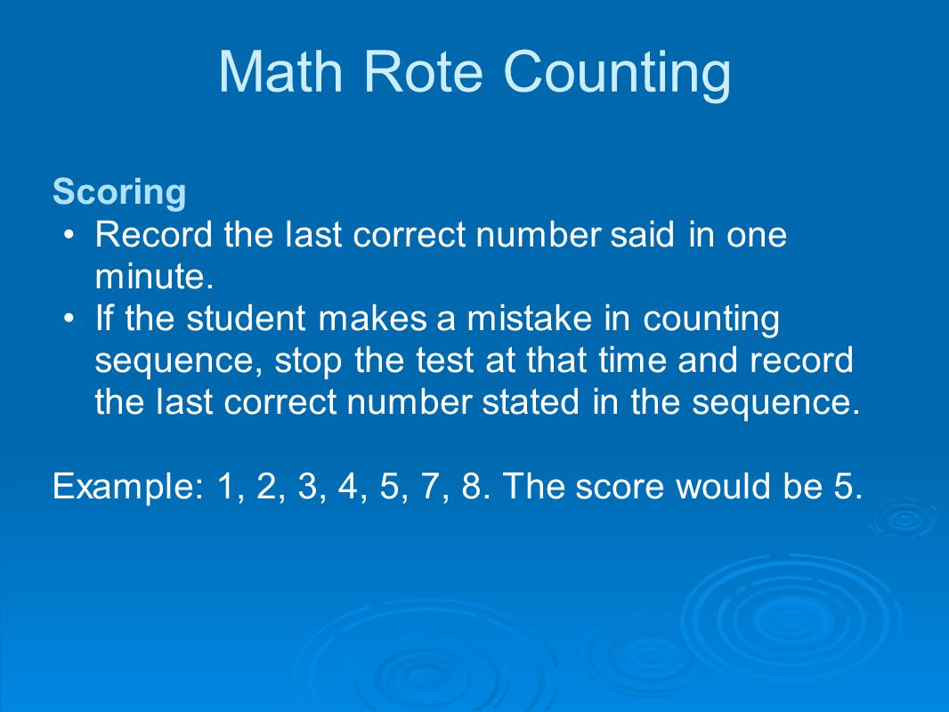 Math Rote Counting Scoring