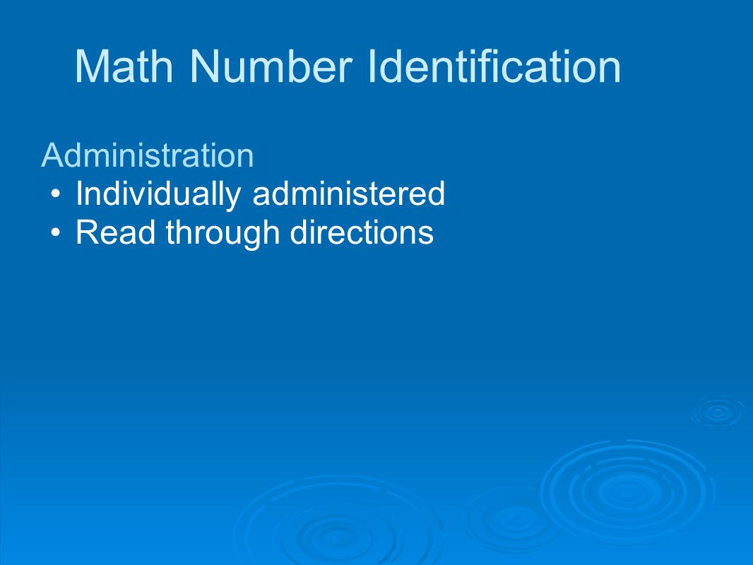 Math Number Identification