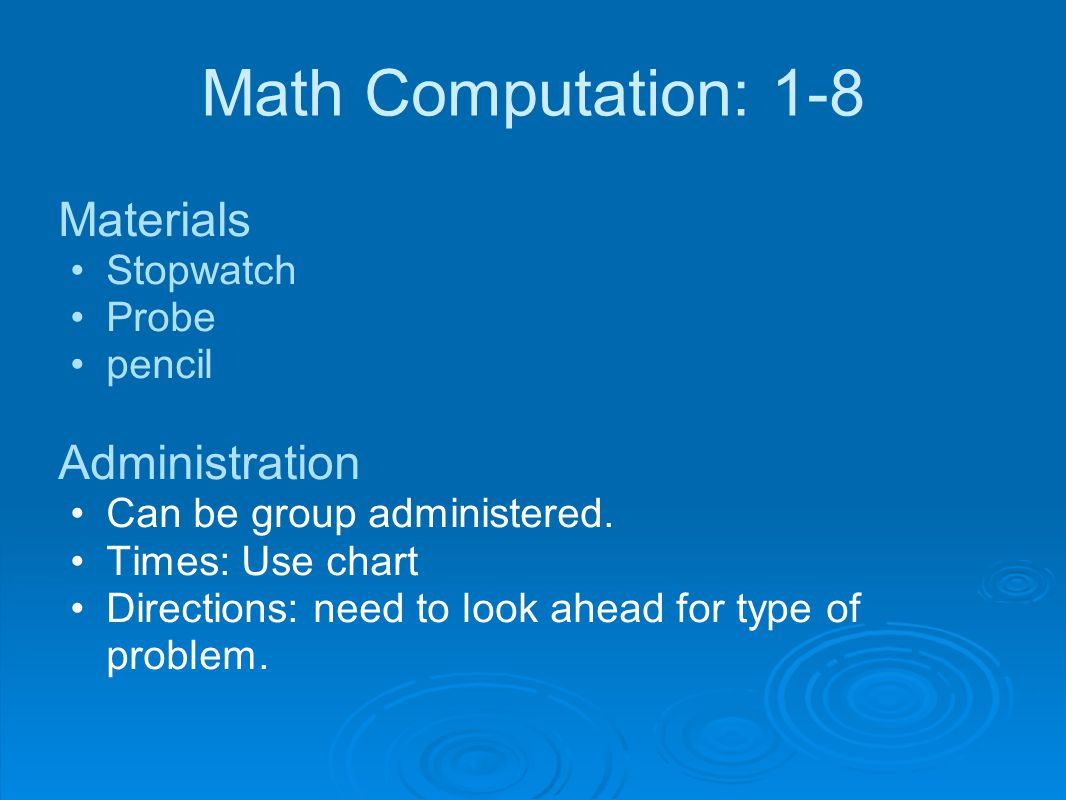 Math Computation: 1-8 Materials Administration Stopwatch Probe pencil