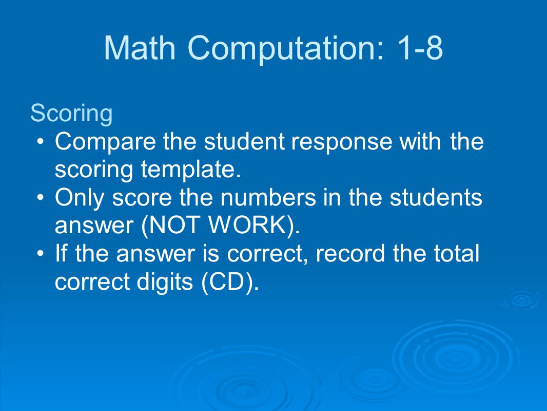 Math Computation: 1-8 Scoring