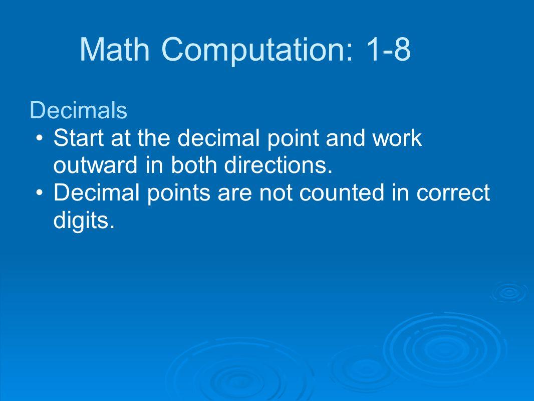 Math Computation: 1-8 Decimals