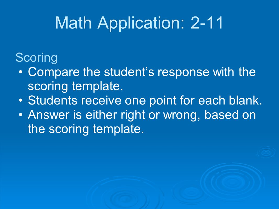 Math Application: 2-11 Scoring