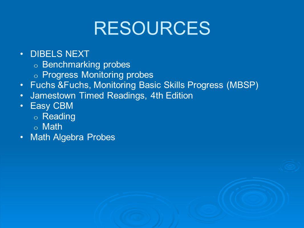 RESOURCES DIBELS NEXT Benchmarking probes Progress Monitoring probes