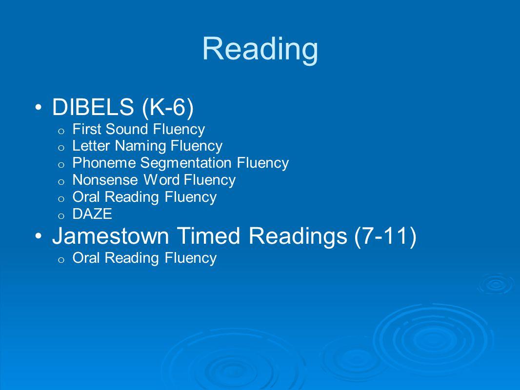 Reading DIBELS (K-6) Jamestown Timed Readings (7-11)