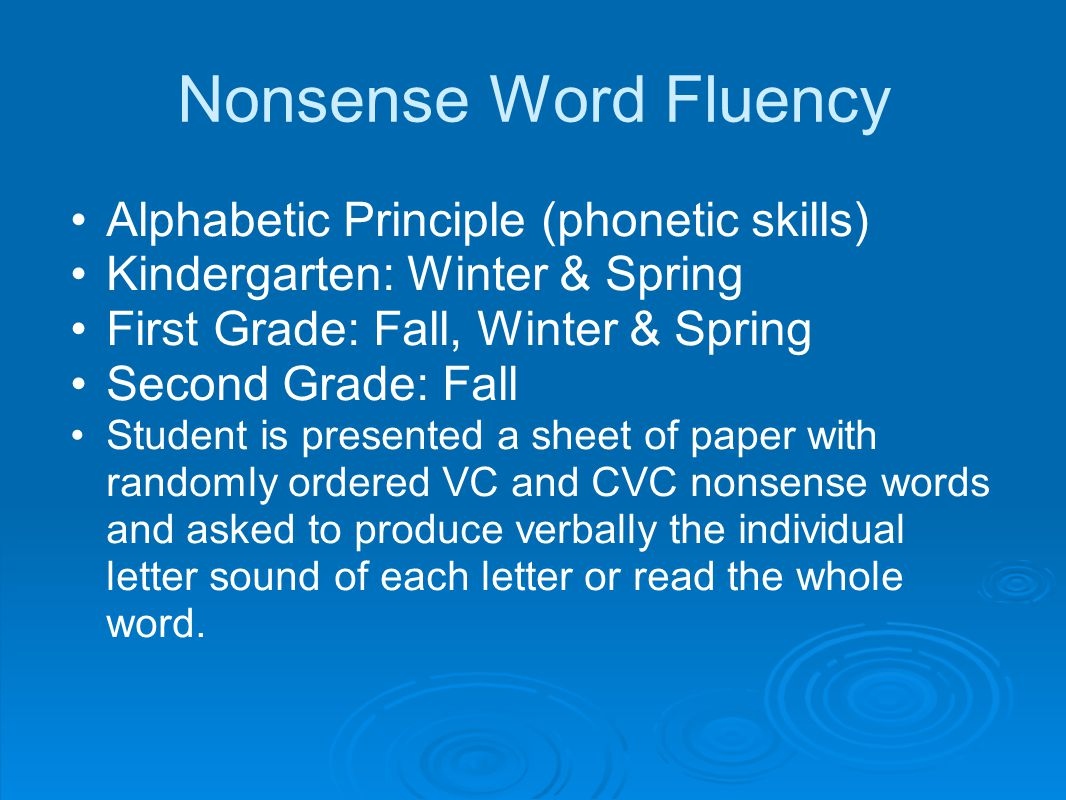 Nonsense Word Fluency Alphabetic Principle (phonetic skills)