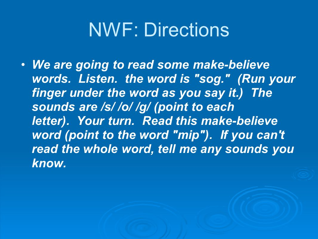 NWF: Directions