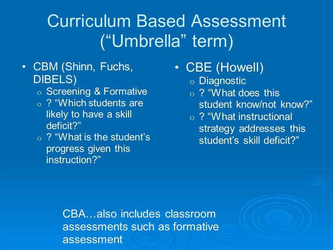 Curriculum Based Assessment ( Umbrella term)