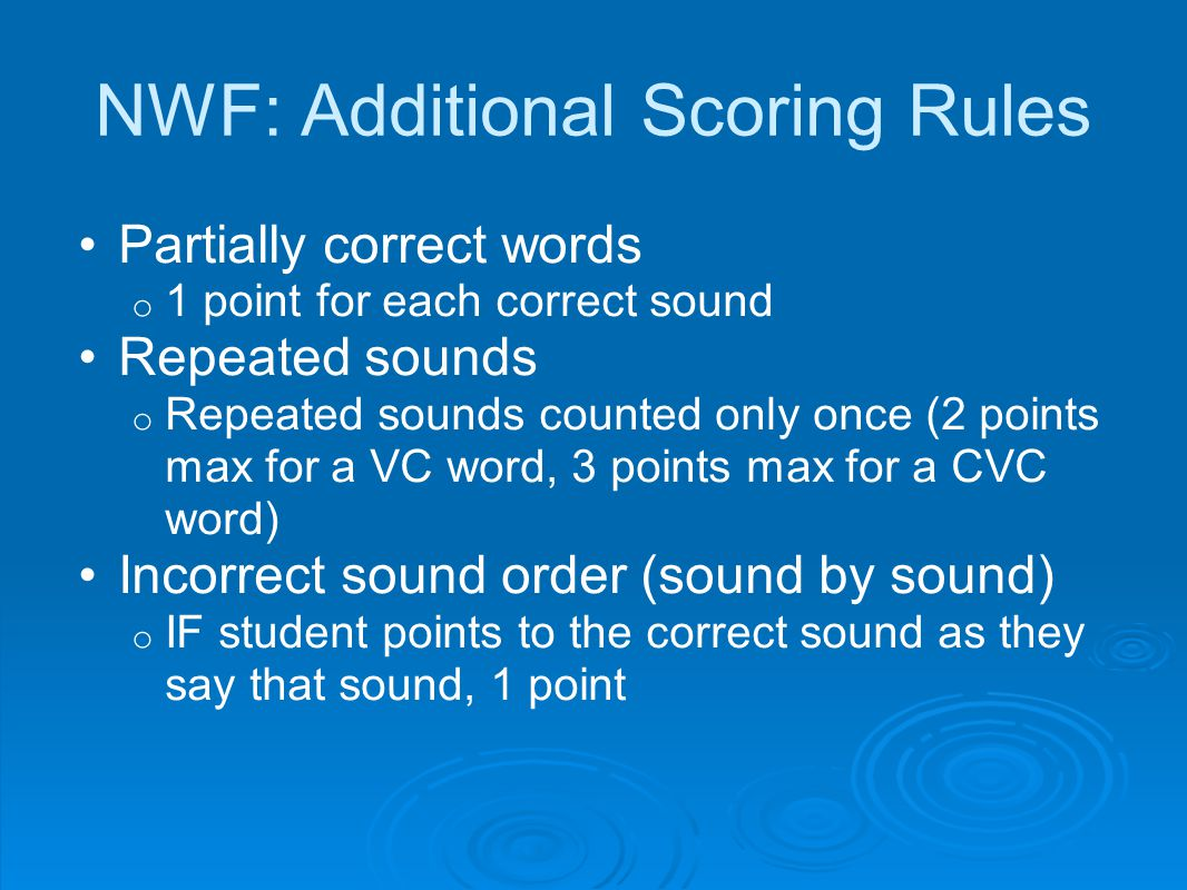 NWF: Additional Scoring Rules