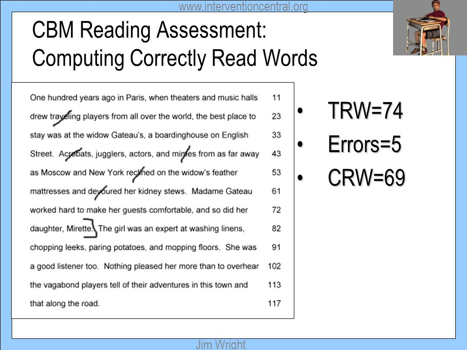 CBM Reading Assessment: Computing Correctly Read Words