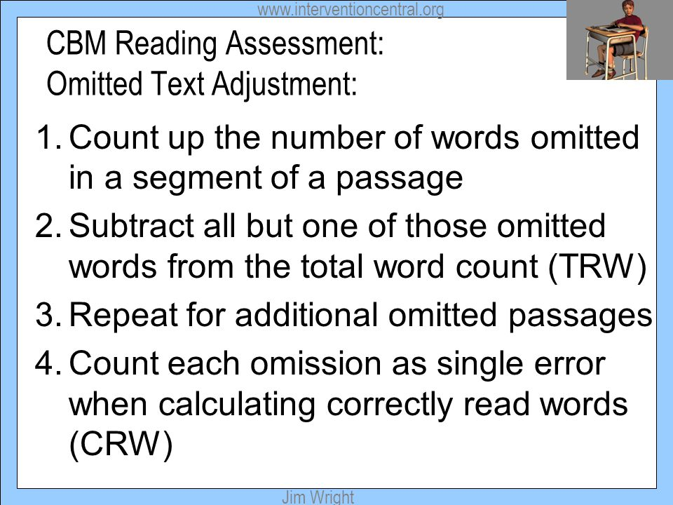 CBM Reading Assessment: Omitted Text Adjustment: