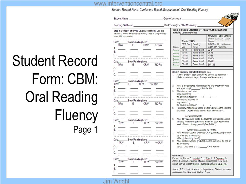 Student Record Form: CBM: Oral Reading Fluency Page 1