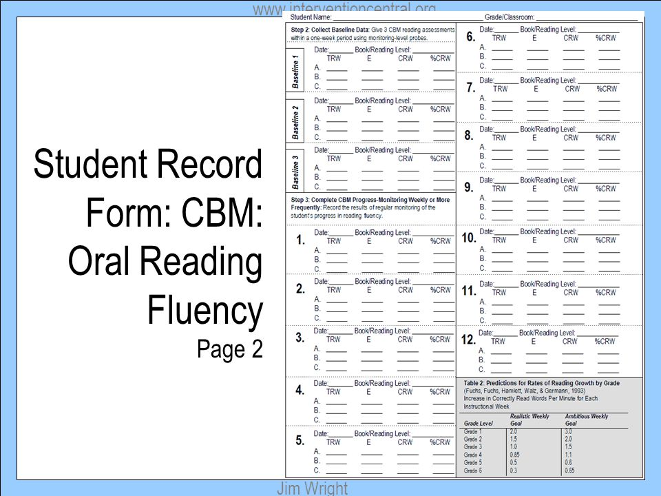 Student Record Form: CBM: Oral Reading Fluency Page 2