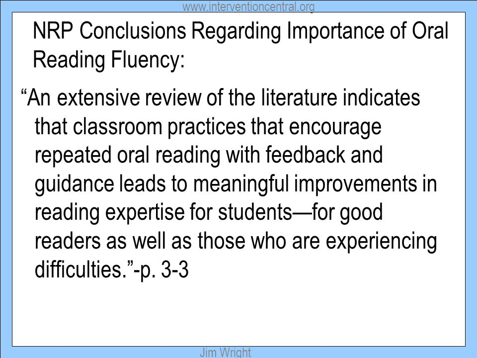 NRP Conclusions Regarding Importance of Oral Reading Fluency: