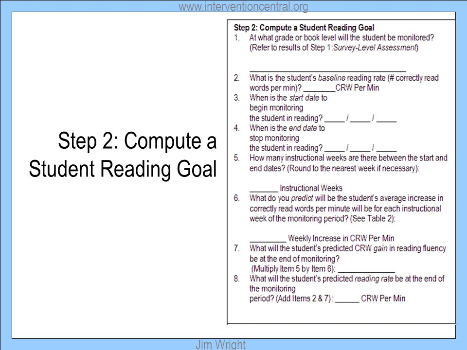 Step 2: Compute a Student Reading Goal