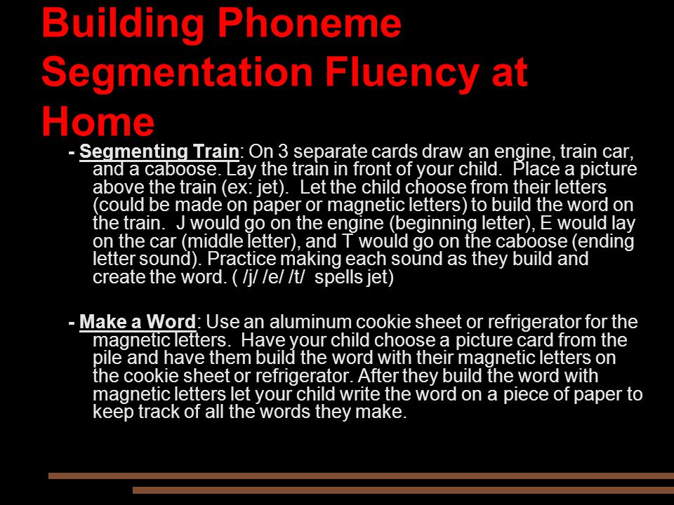 Building Phoneme Segmentation Fluency at Home