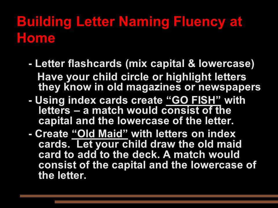 Building Letter Naming Fluency at Home