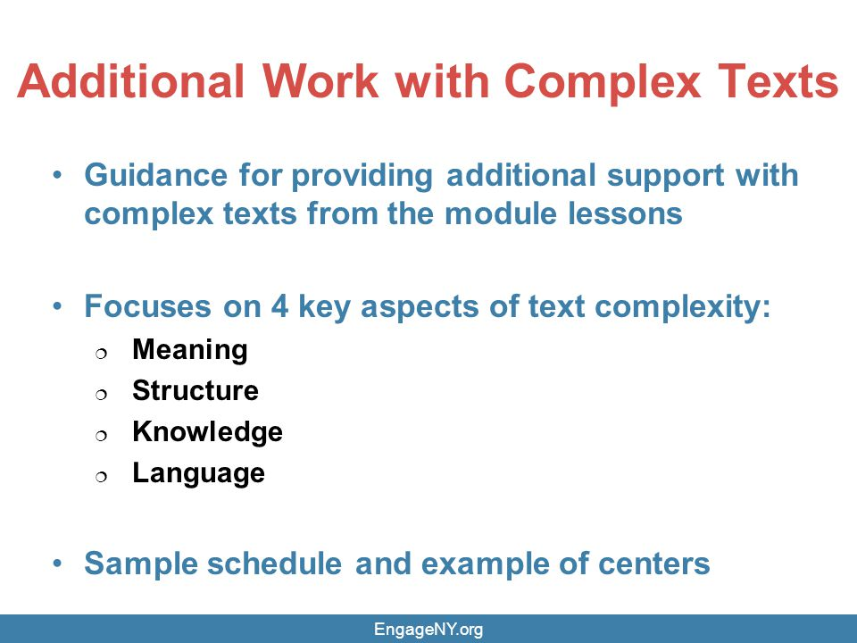 Additional Work with Complex Texts