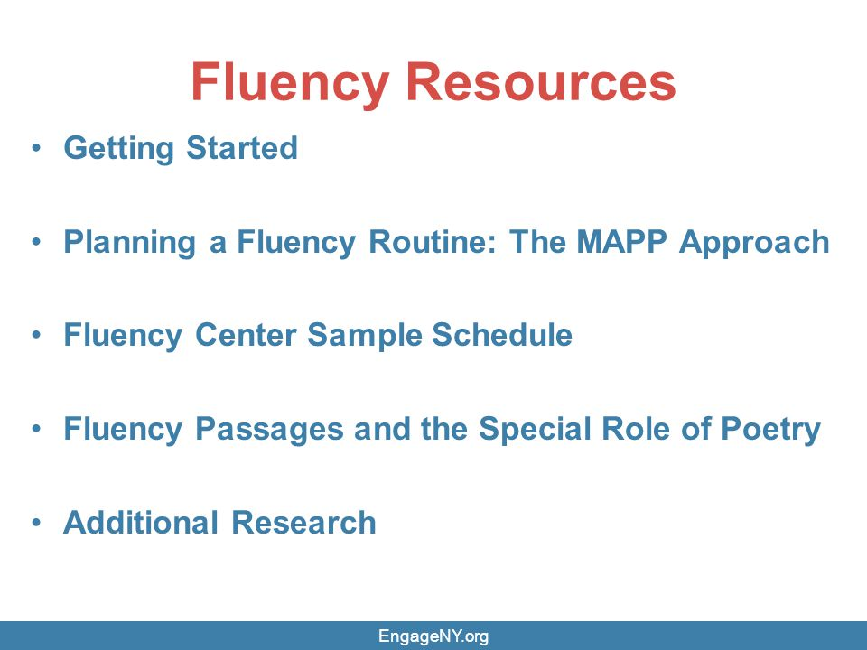 Fluency Resources Getting Started