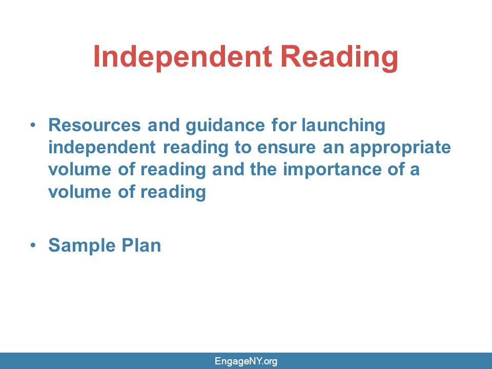 Independent Reading Sample Plan