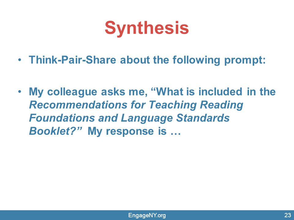 Synthesis Think-Pair-Share about the following prompt: