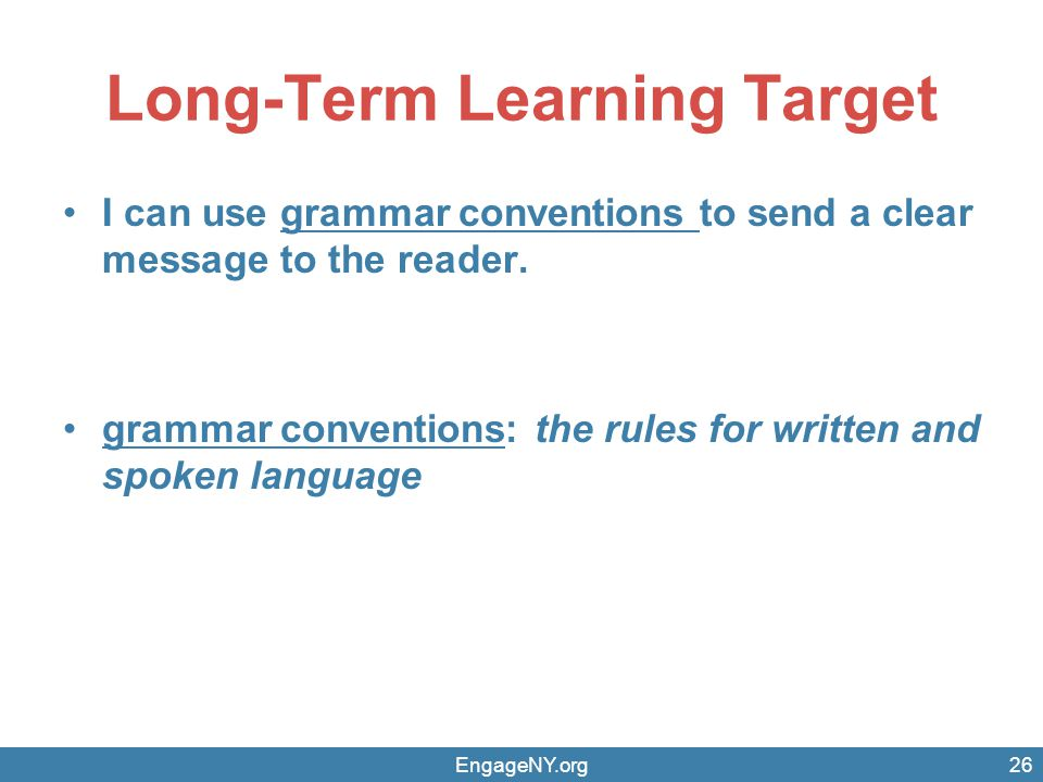 Long-Term Learning Target