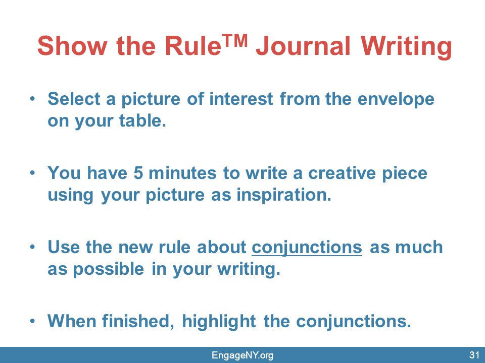 Show the RuleTM Journal Writing