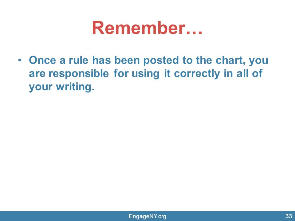 Remember… Once a rule has been posted to the chart, you are responsible for using it correctly in all of your writing.