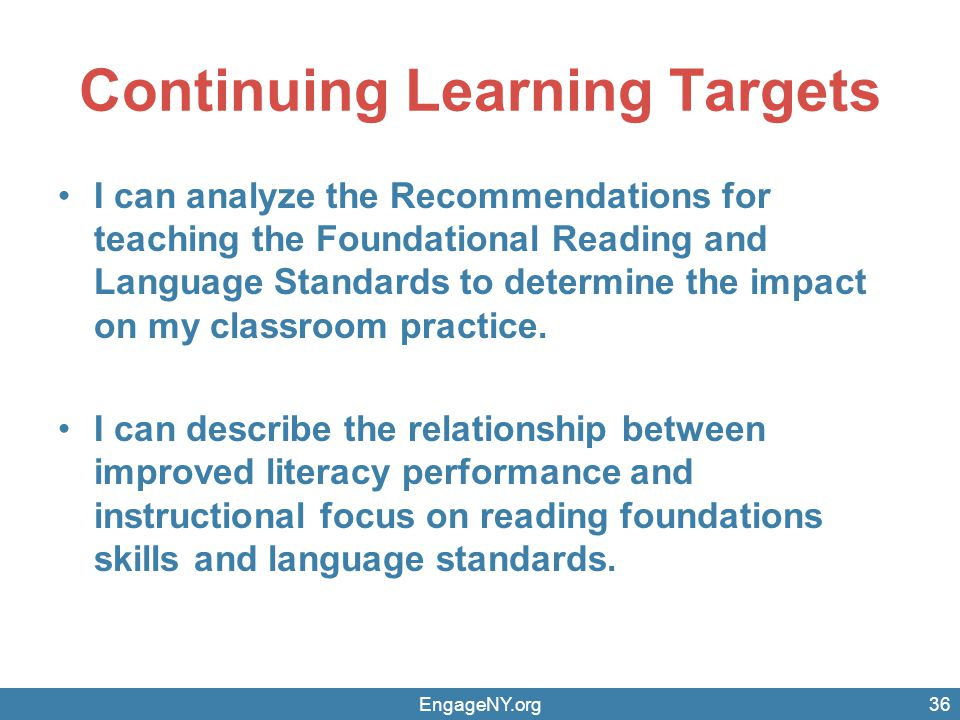 Continuing Learning Targets