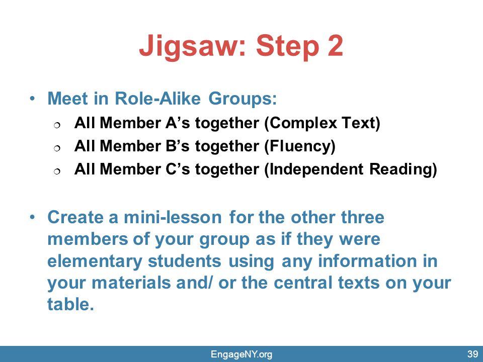 Jigsaw: Step 2 Meet in Role-Alike Groups: