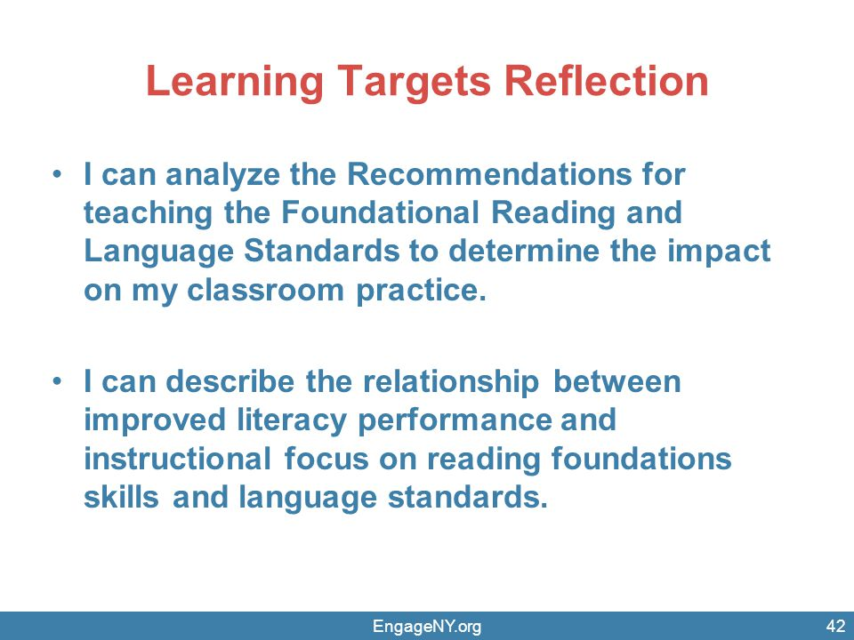 Learning Targets Reflection