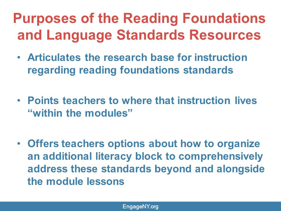 Purposes of the Reading Foundations and Language Standards Resources