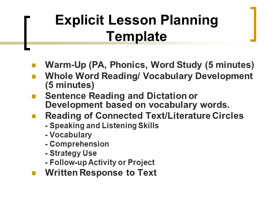 Explicit Lesson Planning Template