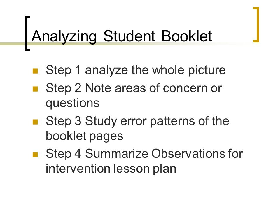 Analyzing Student Booklet
