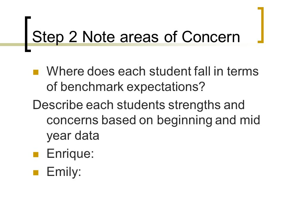 Step 2 Note areas of Concern