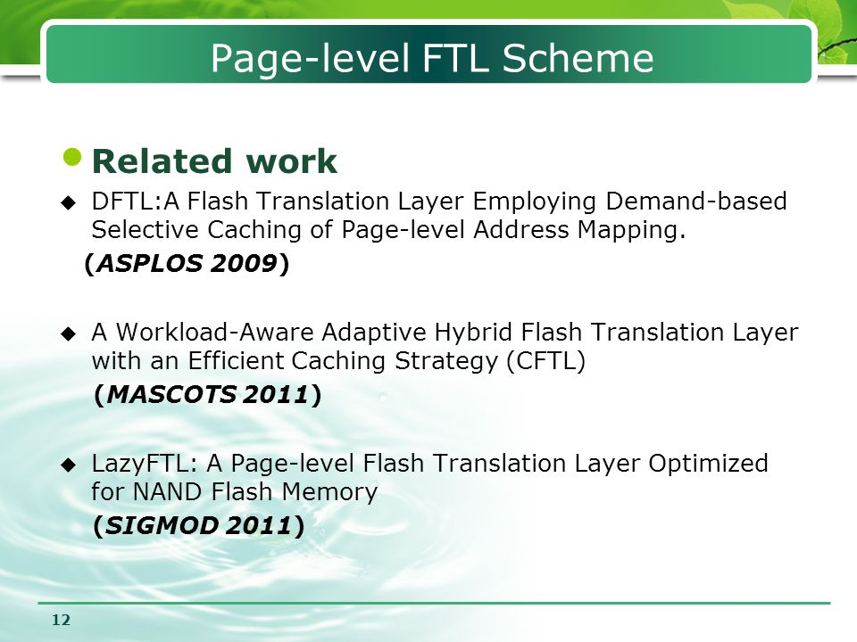 Page-level FTL Scheme Related work