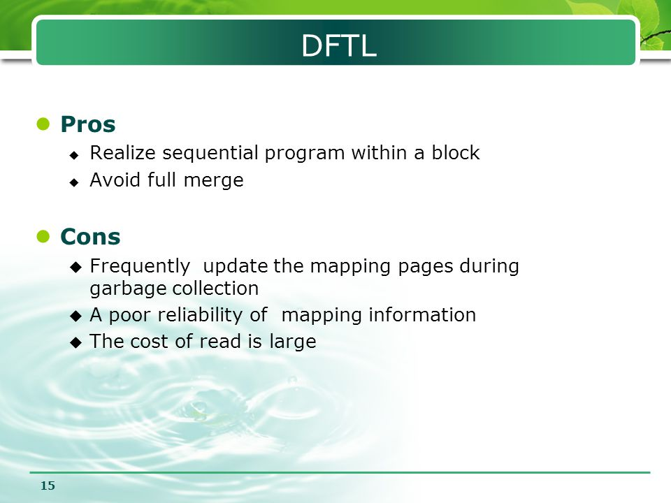 DFTL Pros Cons Realize sequential program within a block