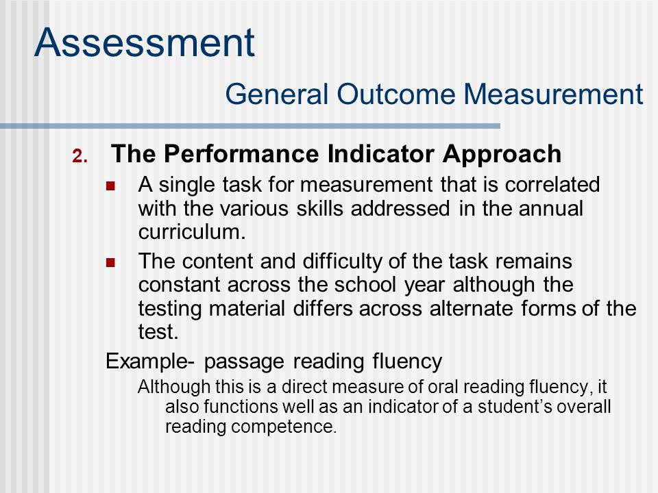 Assessment General Outcome Measurement