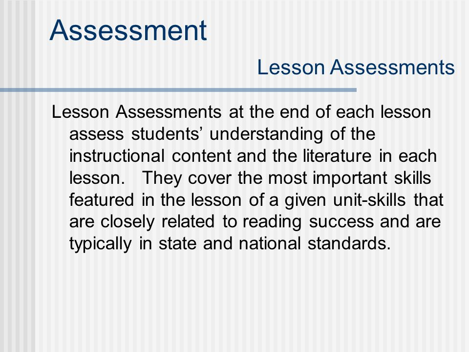 Assessment Lesson Assessments