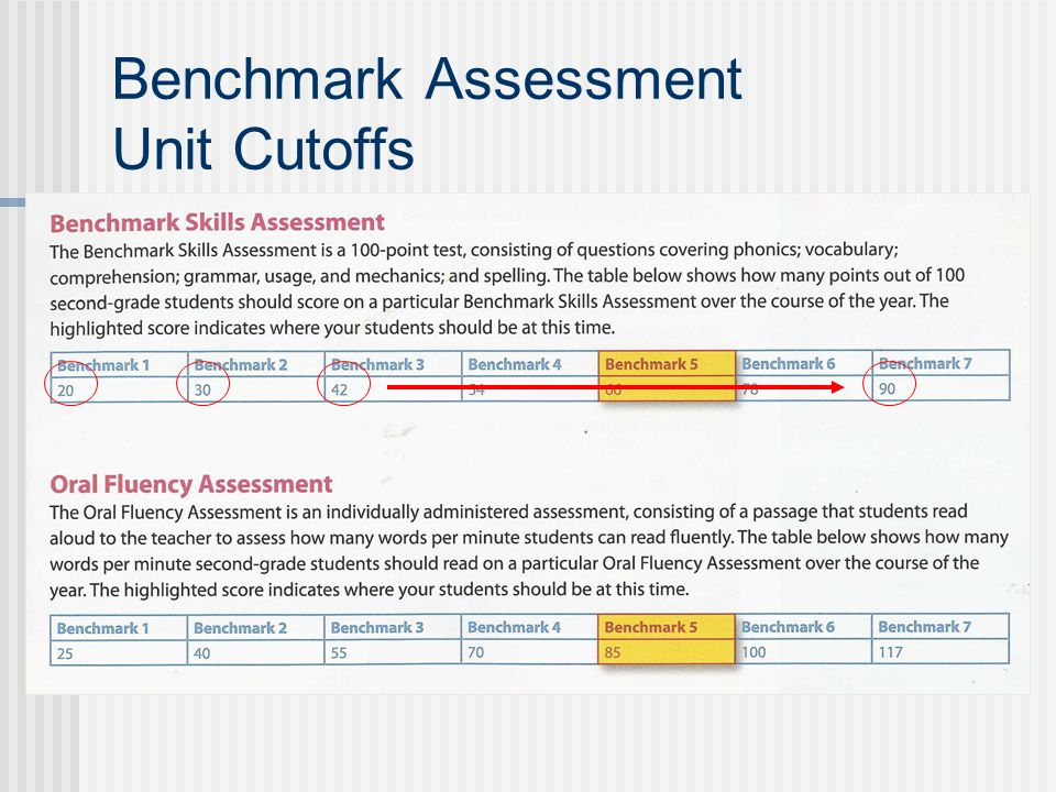 Benchmark Assessment Unit Cutoffs