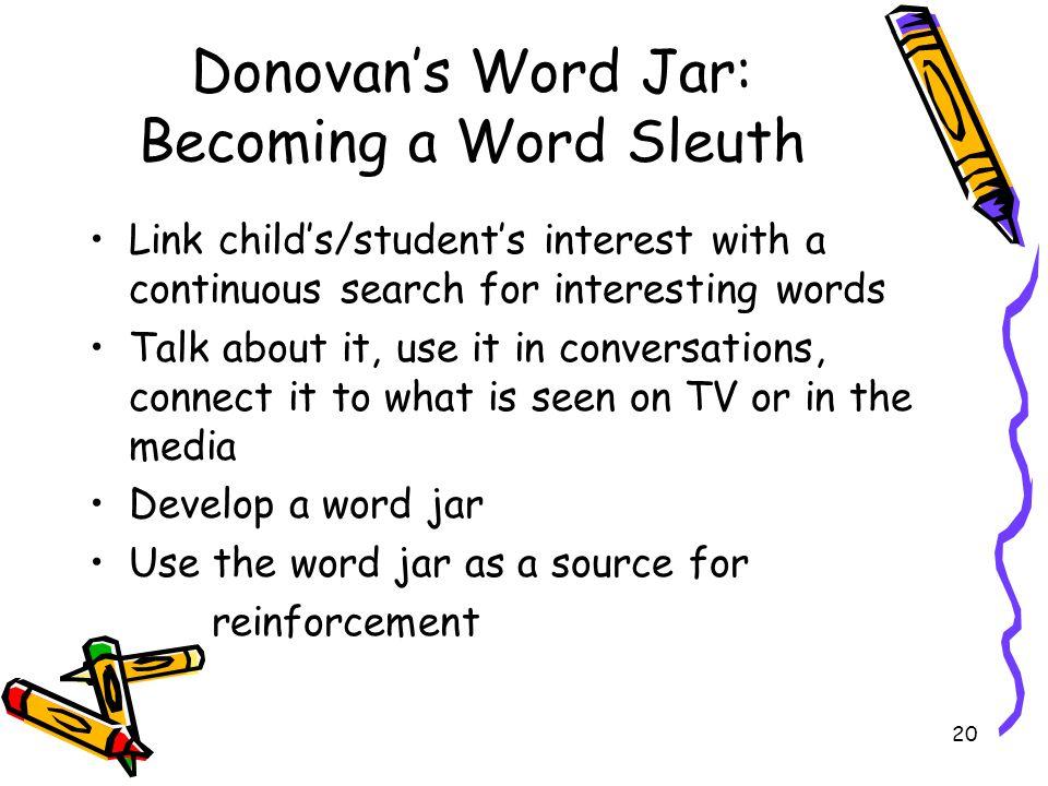 Donovan's Word Jar: Becoming a Word Sleuth
