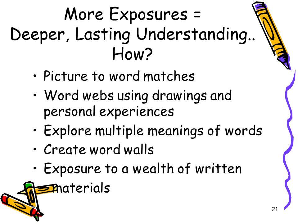 More Exposures = Deeper, Lasting Understanding.. How
