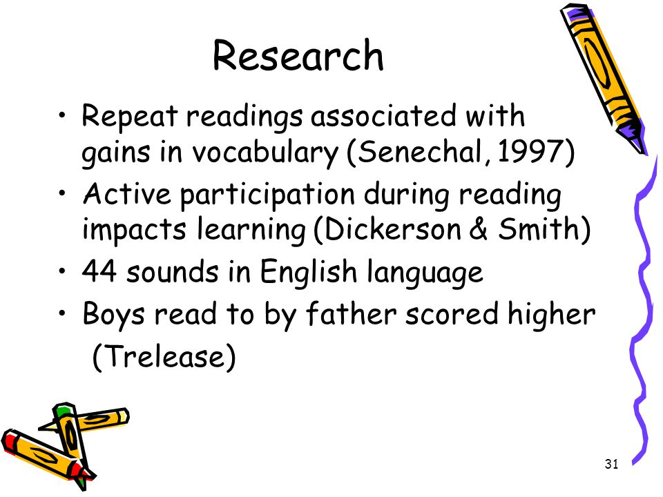 Research Repeat readings associated with gains in vocabulary (Senechal, 1997)