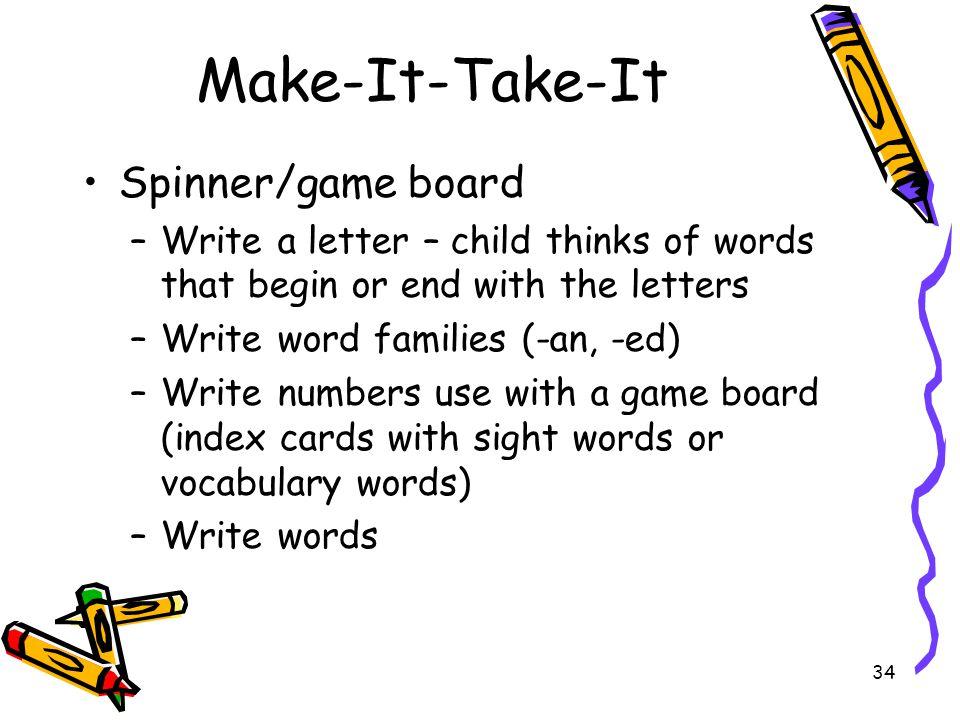 Make-It-Take-It Spinner/game board